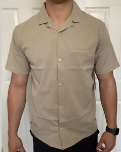 Lululemon Mens Size L Airing Easy Camp Collar SS Shirt Sand TFSD Short Sleeve