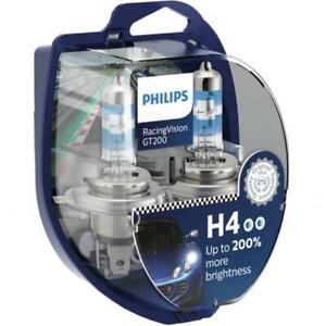 H4 PHILIPS RACING VISION 3500K 200+% Ultimate White Light Bulbs Headlamp Globe