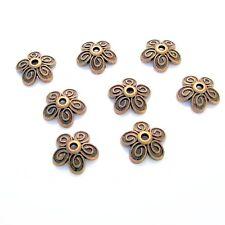 20-Antiqued Bronze Flower Swirl Bead Cap 10mm.