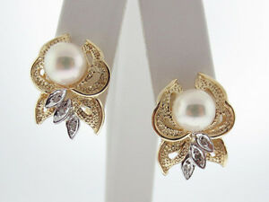 Cultured Pearls Diamonds Solid 14K Two-Tone Gold Earrings FRENCH CLIP