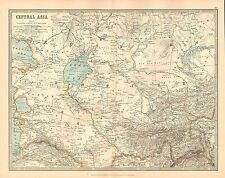 1911 LARGE VICTORIAN MAP ~ CENTRAL ASIA ~ TURKEY RUSSIAN EMPIRE NORTH PERSIA