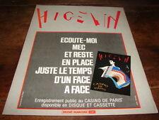 JACQUES HIGELIN - PUBLICITE ECOUTE MOI MEC !!!!!!!!!!!
