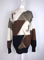 VINTAGE 80s Wool Angora Blend jumper size 12 14 designer housewife fluffy retro