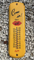 "VINTAGE KIST SODA POP PORCELAIN THERMOMETER SIGN 17"" GAS STATION FOUNTAIN COKE"