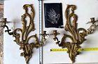 "SET Large Cast Bronze Wall Sconces Vintage Ornate Heavy Regency 22"" TALL"