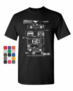 1966 Ford Mustang GT Blueprint T-Shirt American Classic Cotton Tee