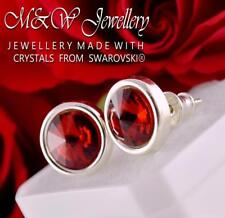 925 Sterling Silver Stud Earrings Crystals From Swarovski® RIVOLI - Scarlet
