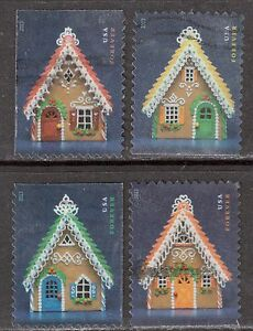Scott #4817-20 Used Set of 4, Gingerbread Houses (Off Paper)