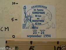 STICKER,DECAL HAAKSBERGEN INT. TWENTSE KENNEDYMARS 80 KM EN MARATHON 42 KM 1994