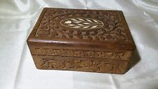 HAND CARVED WOODEN JEWELRY BOX WITH BONE INLAY