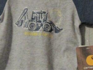 Carhartt boys 1-piece gray w/blue sleeves blue back-hoe yellow 'rugged & tough'