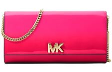 New Michael Kors Mott Large Clutch large east west bag ultra pink patent leather