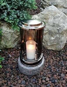 Edelstahl Grablaterne Grablampe Grableuchte Grablicht Sockel Lampe Vase Grabvase