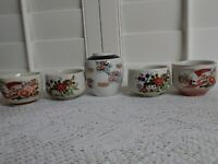 Lot of 5. Vase and 4 Tea cups made in Japan. Various Design.