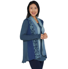 Logo by Lori Goldstein Plus Sz 3x Open Front Panel Cardigan Pockets Blue A299628