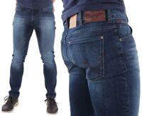 Wrangler Herren Jeans Hose Larston Blaze Hipster Karottenschnitt Blau W27 - W38
