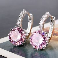 Beloved present! 18k white gold filled pink sapphire leverback earring