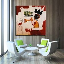 "Jean-Michel Basquiat ""Trumpet"" HD Print on Canvas Huge Size Wall Picture 24x24"""
