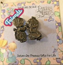 New Sterling Silver Precious Moments SISTERS ARE PRECIOUS Large Brooch Pin