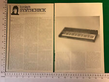 Sequential Circuits Prophet vintage article review 1978 synthesiser synth