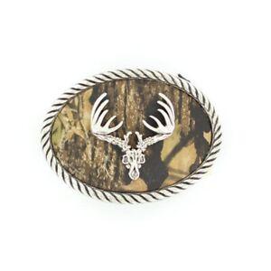 Nocona Mens Camo Deer Skull Oval Belt Buckle 37076