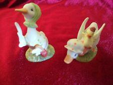 2 Lefton China Goose Figurines