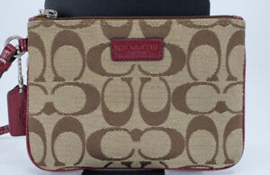 Coach Wristlet Purse Beige And Brown ( Length 6.2 Inches,Height 4.5 Inches)