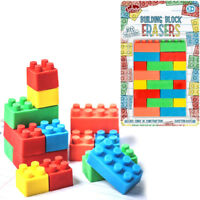 BUILDING BLOCK ERASERS RUBBERS KIDS NOVELTY PRIZES TOY BIRTHDAY PARTY BAG FILLER