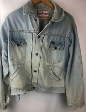 Vtg 70s Dee Cee Hombre Denim Jacket Unique And Heavily Distressed
