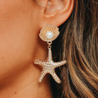 Fashion Women starfish Pearl Earrings Drop Dangle Stud Earring Jewelry Gift