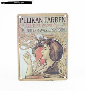 "Small Pelikan Metal Promotion / Decoration Sign  ""Wasserfarben"""