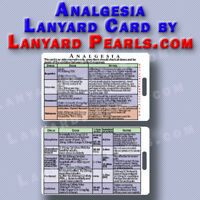 analgesia / pain relief - medical + nursing lanyard reference card