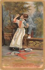 1912 Romantic Postcard-Lovers Kissing Good-Bye-Adieu-Promise Me You'll be True