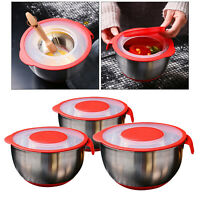 Stainless Steel Round Mixing Bowl Colander With Lids, Non-Slip Salad Bowl