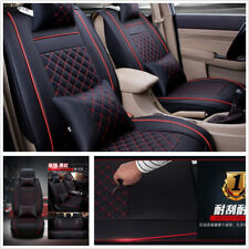 Universal PU Leather 5-Seater Car Front Seat Cover Protector Cushion w/Pillows