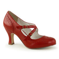 "3"" Kitten Heel Red Flapper Maryjane Buckle Pinup Retro Couture Pumps 6-12"