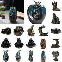 Ceramic Waterfall Backflow Smoke Incense Burner Censer Holder Home Decor Gift UK