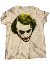 The Dark Knight Joker Mens Graphic T-Shirt White Purple Tie Dye Heath Ledger L