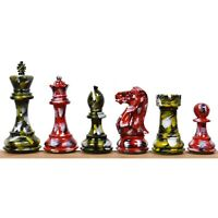 """4.1"""" Dance of Colours Series Staunton Chess Pieces only set -Handpainted Boxwood"""