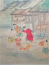 Rare Chinese Painting & Scroll Working People By Lang Shining 郎世宁 WEDE