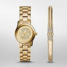 Michael Kors Women's Petite Runway Gold Tone Watch & Bracelet Set MK3624 $375