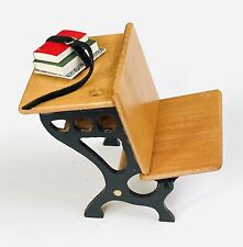 Dollhouse Miniature Vintage Wood School Desk Seat W/ Books