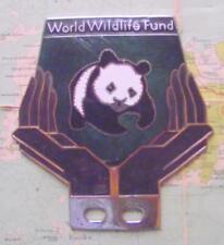 More details for old chrome enamel vintage car mascot badge : wwf world wildlife fund panda (j)