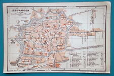 "1905 BAEDEKER MAP - Holland Leeuwarden City  Plan  4"" x 6"" (10 x 15 cm)"