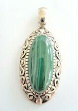Oblong Green Malachite Sterling Silver Pendant Enhancer Thailand 925