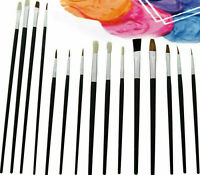12 x Artist Brush Set Painting Brushes Assorted Artist Kids Paint Hobby Craft