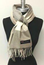 New 100% CASHMERE SCARF Check Plaid Khaki Tan Cream Scotland Warm SOFT Wool Wrap