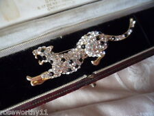 VINTAGE STATEMENT GOLD BROOCH PIN CRYSTAL RHINESTONE PANTHER LEOPARD BIG CAT