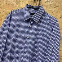 HUGO BOSS Mens Shirt 42 16.5 (LARGE) Long Sleeve Blue Regular Fit Check Cotton