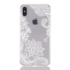 For iPhone 11 Max XS XR X 8 7 Mandala Henna Slim Soft TPU Clear Back Case Cover